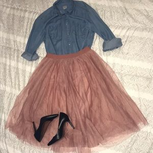 Tulle blush colored skirt